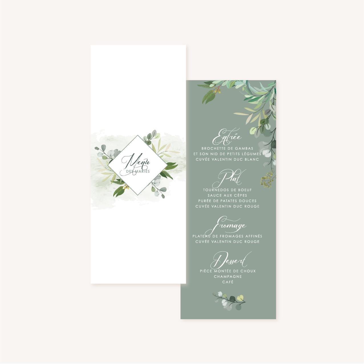 Menu individuelle table mariage végétal feuille eucalyptus