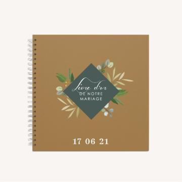 Livre d'or kraft mariage végétal feuille eucalyptus