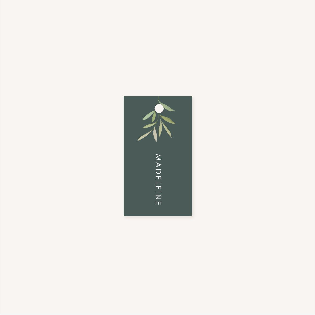 Étiquette personnalisée vert foncé perforée mariage végétal feuille eucalyptus
