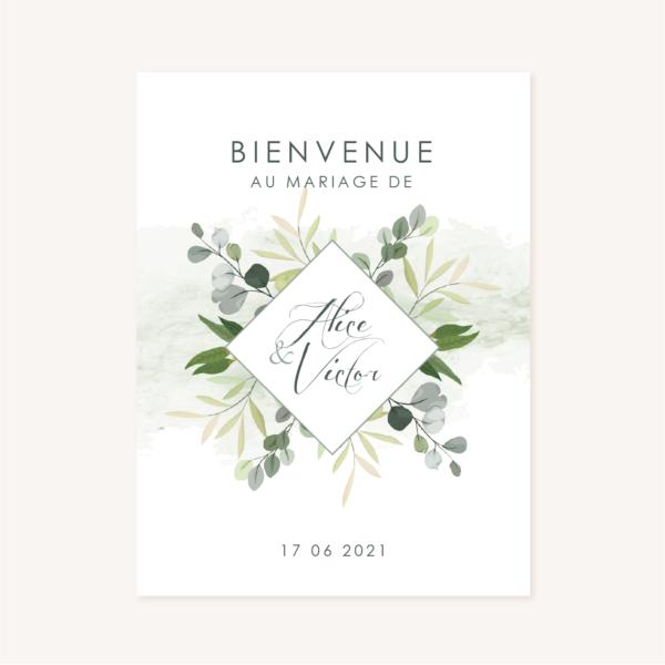 Panneau accueil mariage végétal feuille eucalyptus
