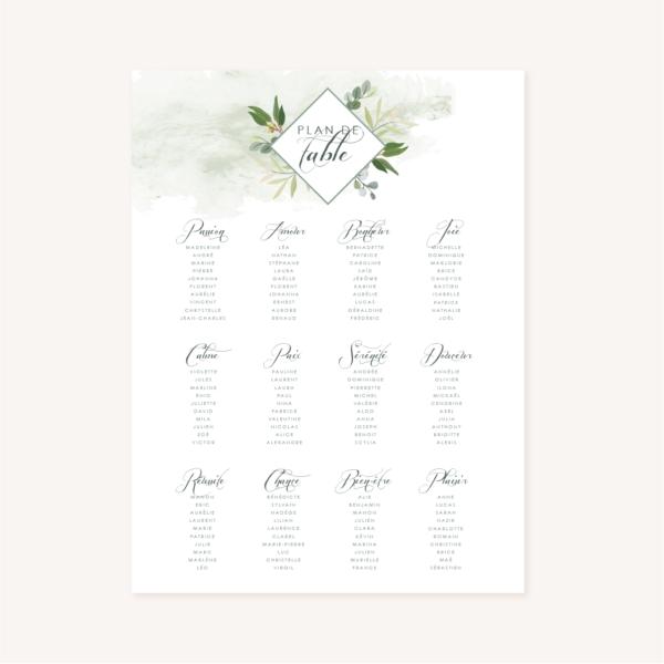 Panneau plan de table mariage végétal feuille eucalyptus
