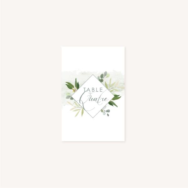 Nom de table blanc mariage végétal feuille eucalyptus