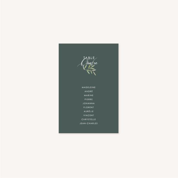 Plan de table vert foncé mariage végétal feuille eucalyptus