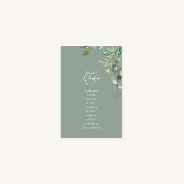 Plan de table vert mariage végétal feuille eucalyptus