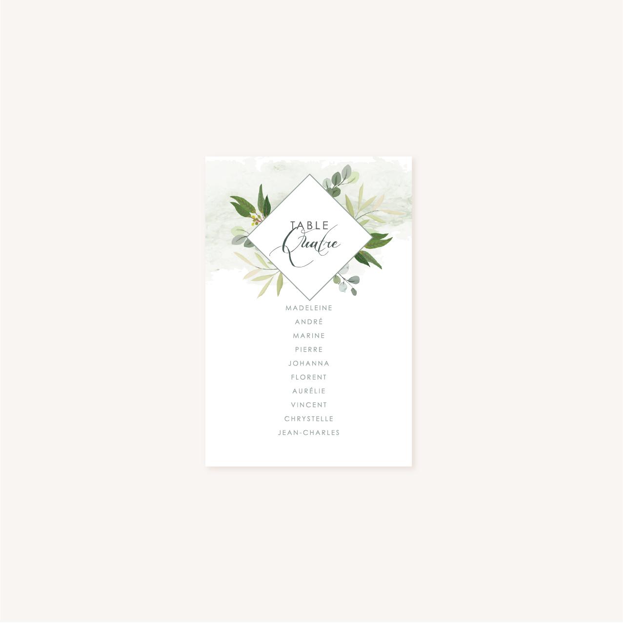 Plan de table blanc mariage végétal feuille eucalyptus