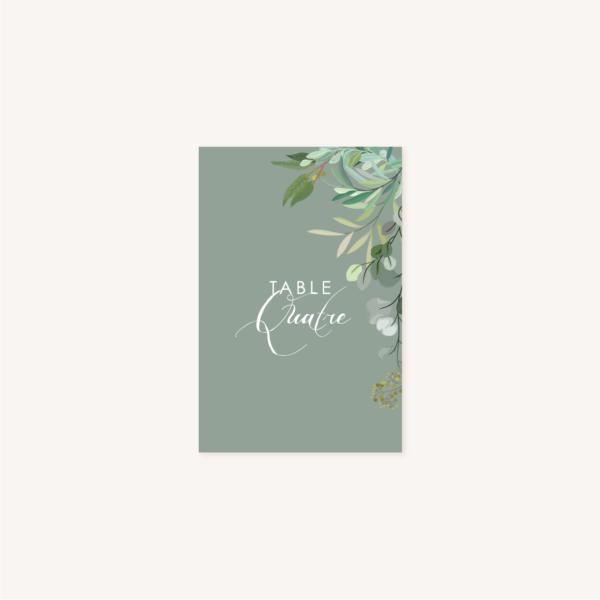 Nom de table vert mariage végétal feuille eucalyptus