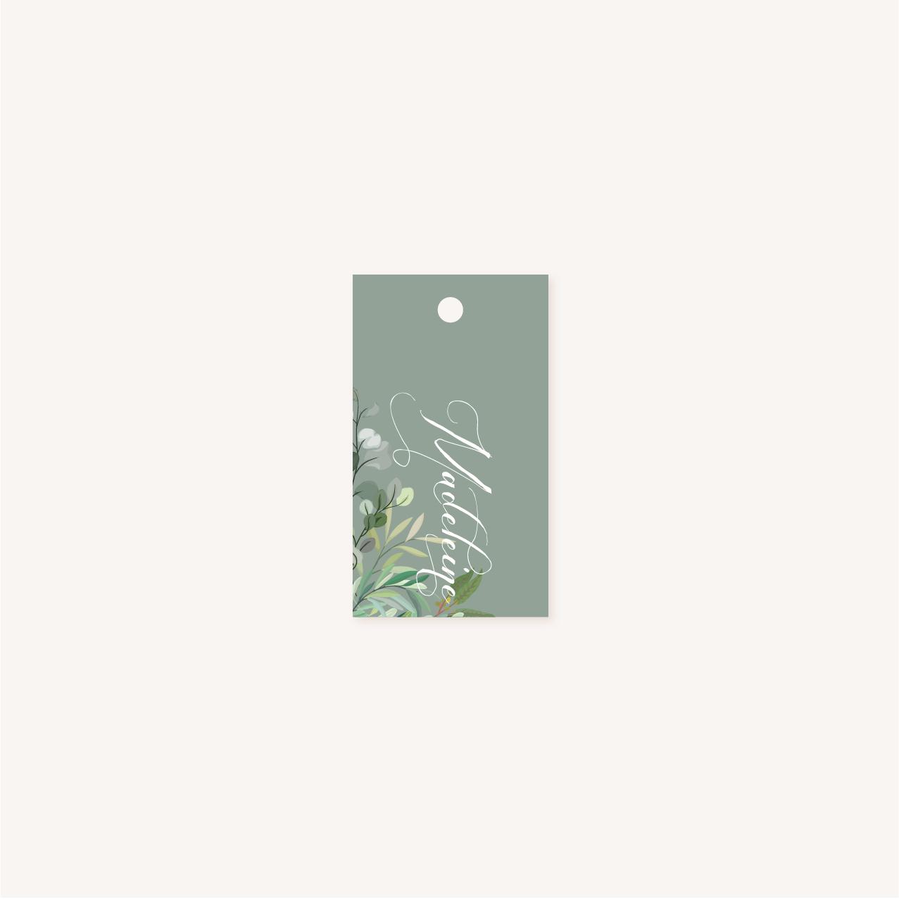 Étiquette individuelle perforée personnalisable vert mariage végétal feuille eucalyptus