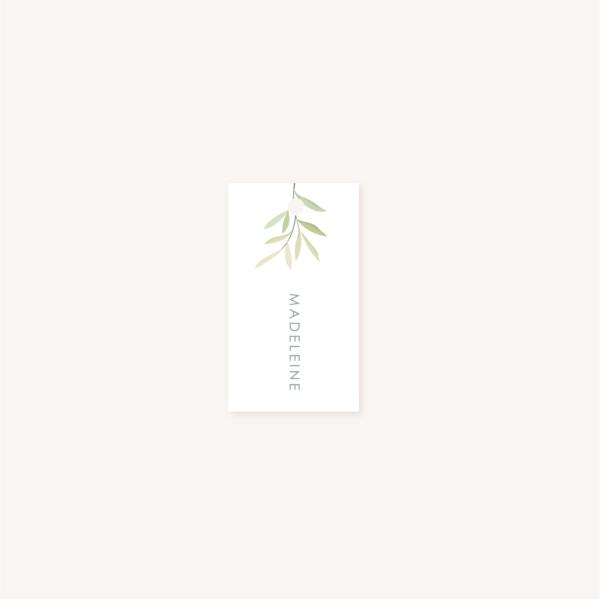 Étiquette individuelle perforée personnalisable blanc mariage végétal feuille eucalyptus