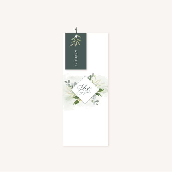 Menu individuelle et étiquette individuelle perforée personnalisable mariage végétal feuille eucalyptus