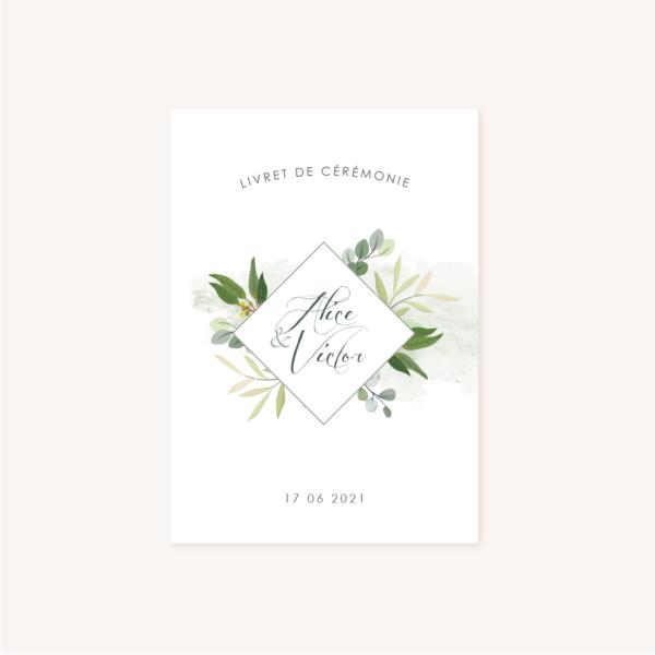 Livret de cérémonie recto mariage végétal feuille eucalyptus