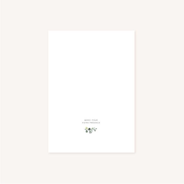 Livret de cérémonie verso mariage végétal feuille eucalyptus