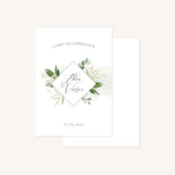 Livret de cérémonie mariage végétal feuille eucalyptus