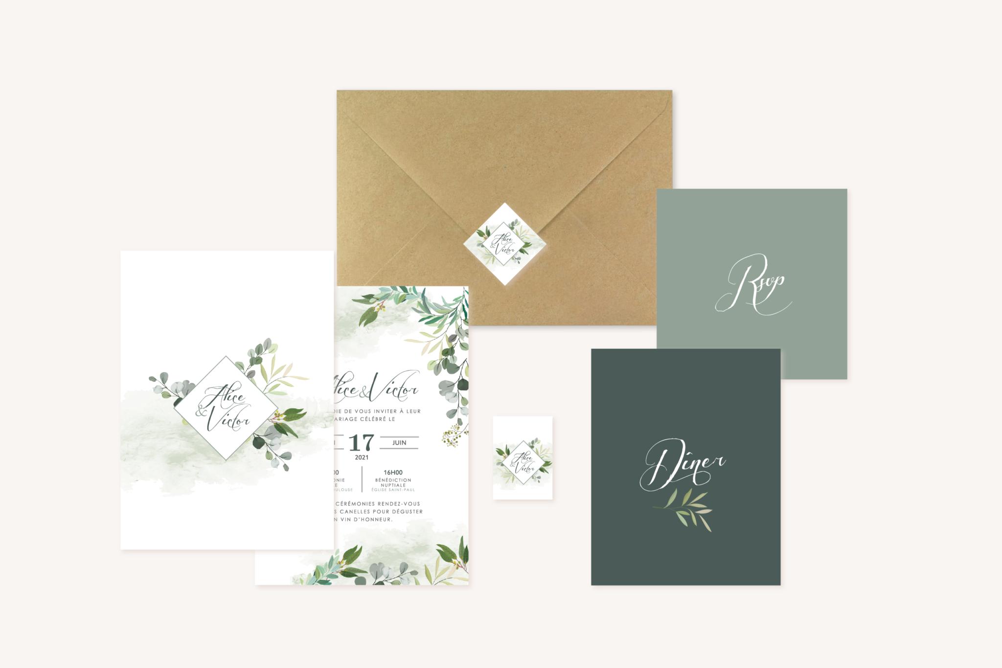 Ensemble papeterie faire-part mariage carton dîner brunch étiquette personnalisée perforée végétal feuille eucalyptus