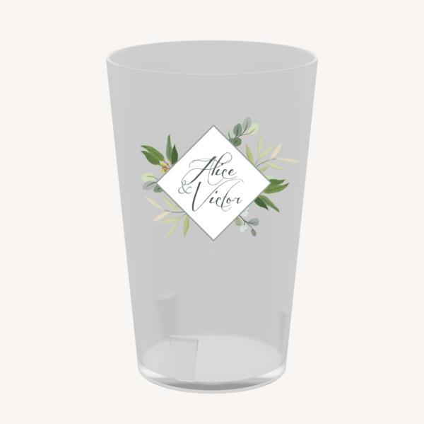 Écocup gobelet réutilisable personnalisé table mariage végétal feuille eucalyptus