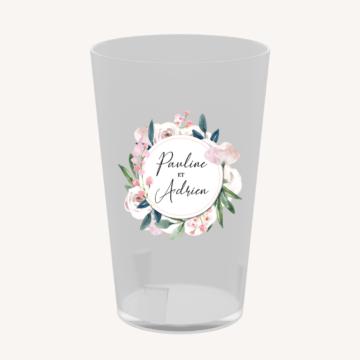 Gobelet réutilisable mariage écocup fleurs romantique pastel