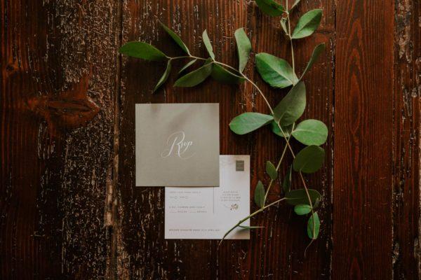 Carton RSVP faire-part mariage végétal feuille eucalyptus