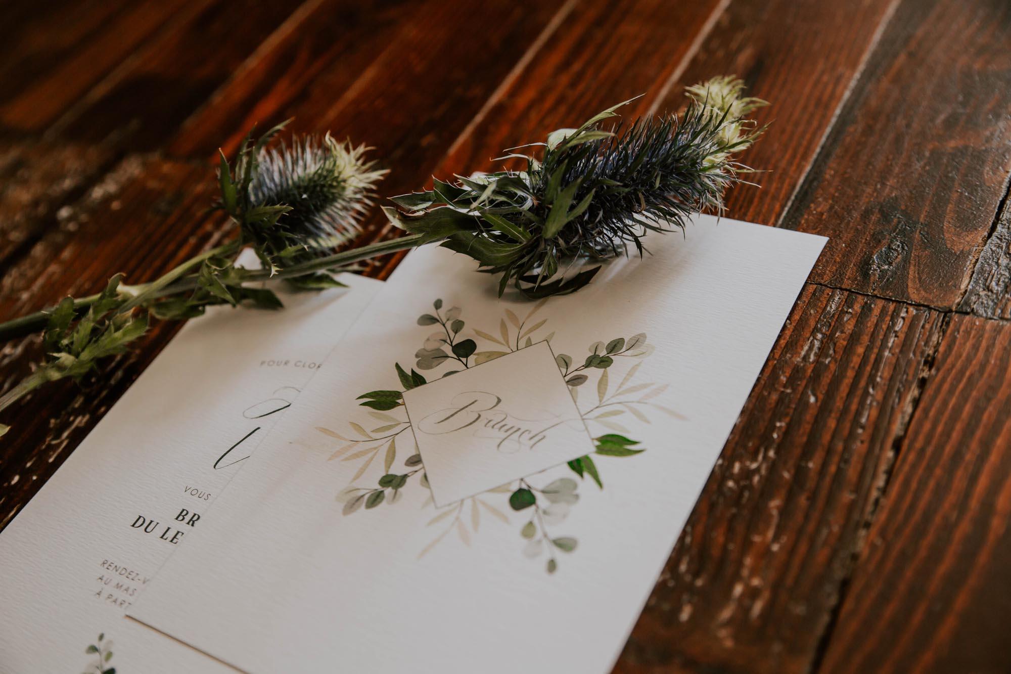 Carton brunch faire-part mariage végétal feuille eucalyptus