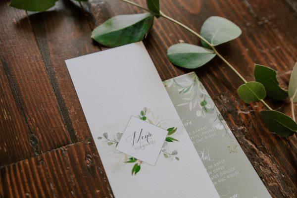 Menu individuelle mariage végétal feuille eucalyptus