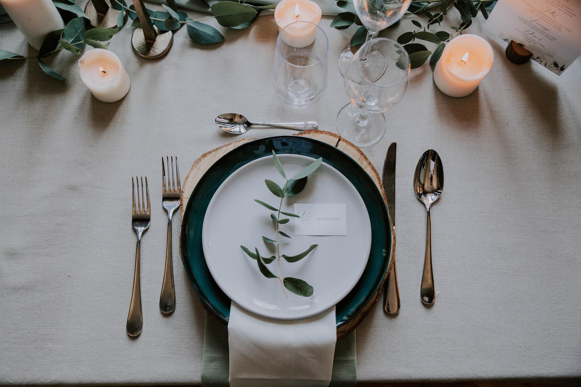 Étiquette nom individuelle mariage végétal feuille eucalyptus