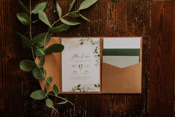 Faire-part avec pochette mariage végétal feuille eucalyptus