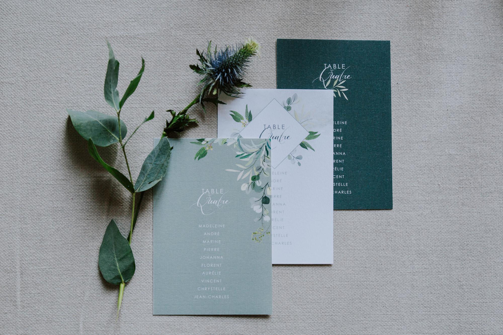 plan de table mariage végétal feuille eucalyptus