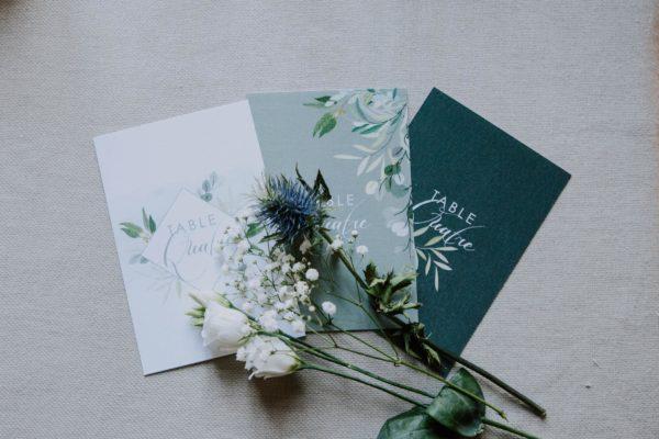 nom de table mariage végétal feuille eucalyptus