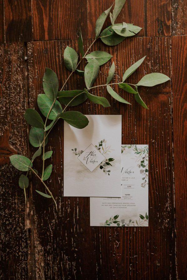 Faire-part mariage végétal feuille eucalyptus