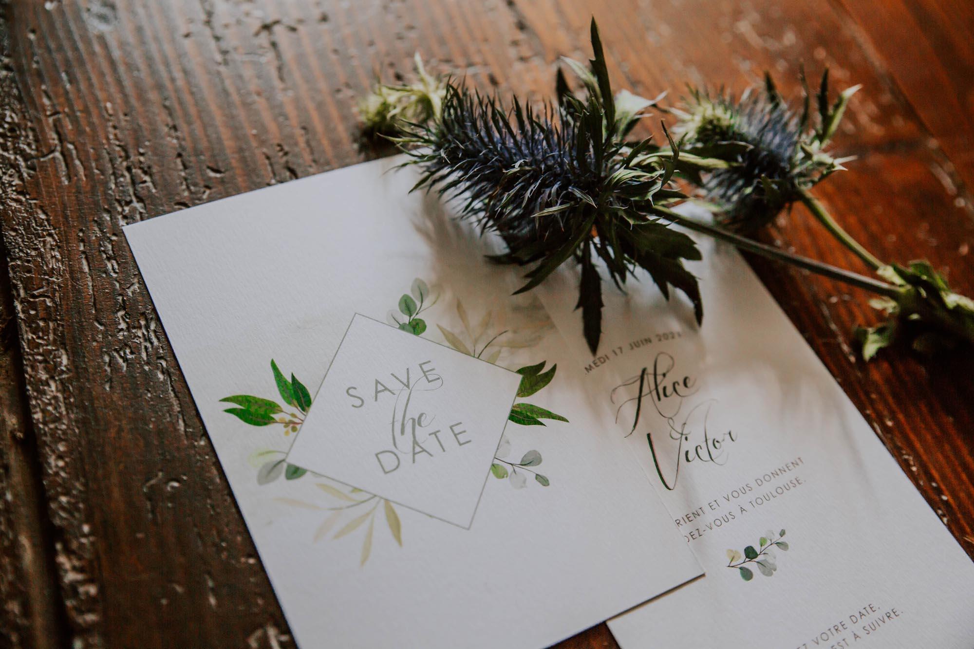 Save the date faire-part mariage végétal feuille eucalyptus