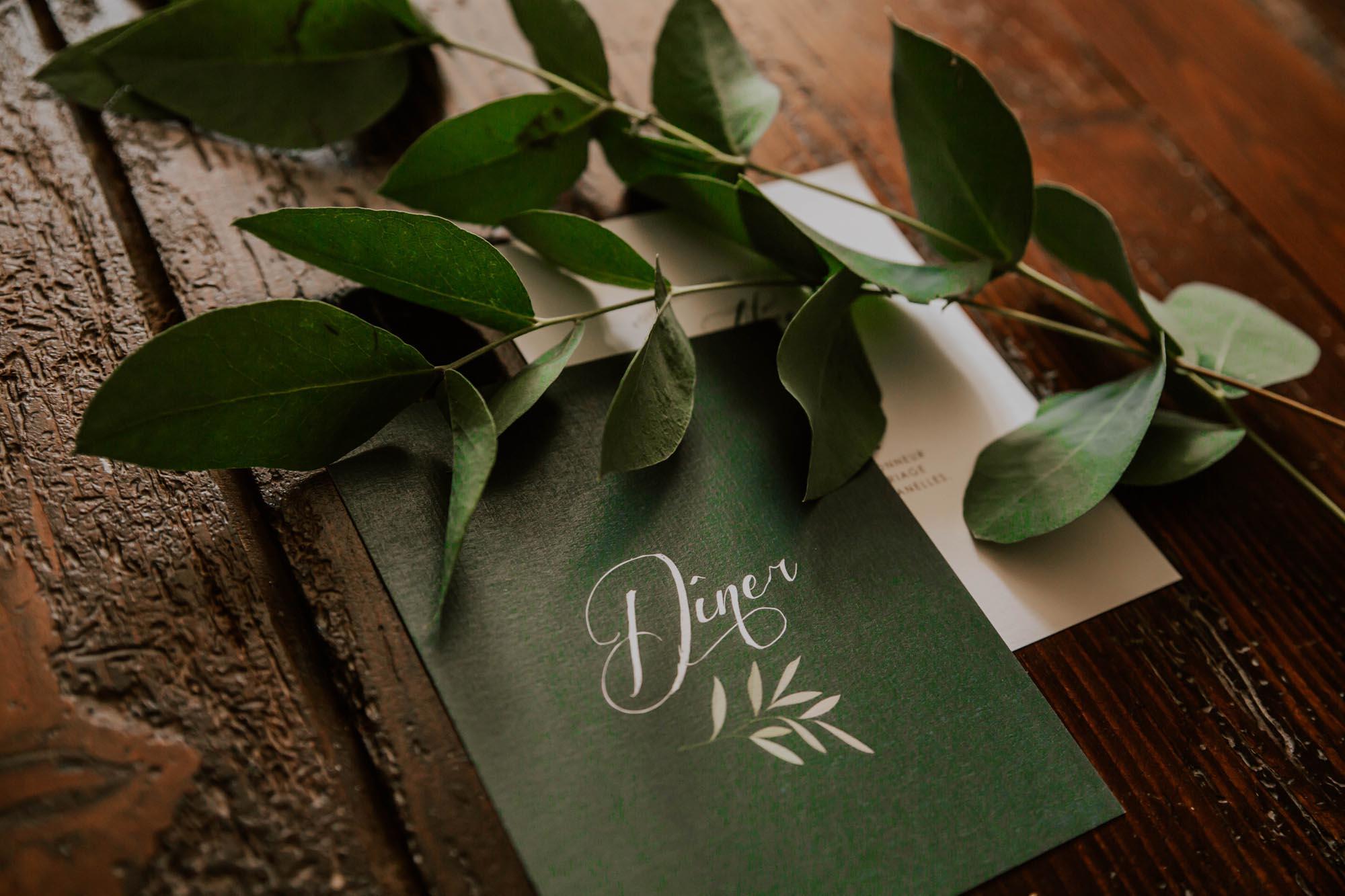 Carton dîner faire-part mariage végétal feuille eucalyptus