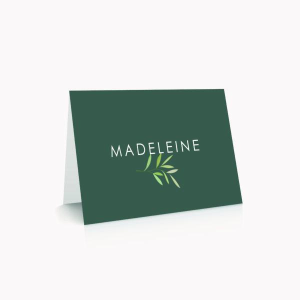 Marque-place vert foncé personnalisé table mariage végétal feuille eucalyptus