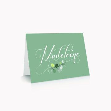 Marque-place vert personnalisé table mariage végétal feuille eucalyptus