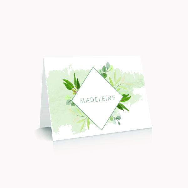 Marque-place blanc personnalisé table mariage végétal feuille eucalyptus