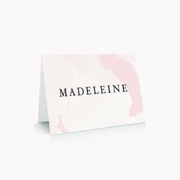 Marque-place mariage blush couleurs rose, rose poudré, rose clair, blanc, mariage thèmes doux, romantique