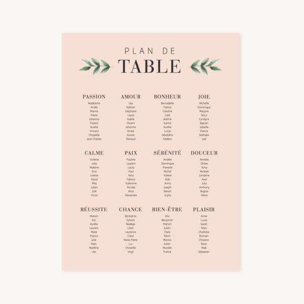 Plan de table, illustrations, portrait, toi et moi, Floral, nature, rose, nude, pêche, vert d'eau, vert menthe, eucalyptus, feuillage, végétal, aquarelle, dessin, couple, photo, romantique, végétal, nature, champêtre