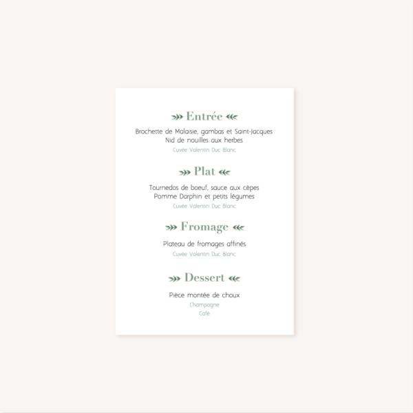 Menu mariage verso, illustrations, portrait, toi et moi, Floral, nature, rose, nude, pêche, vert d'eau, vert menthe, eucalyptus, feuillage, végétal, aquarelle, dessin, couple, photo, romantique, végétal, nature, champêtre