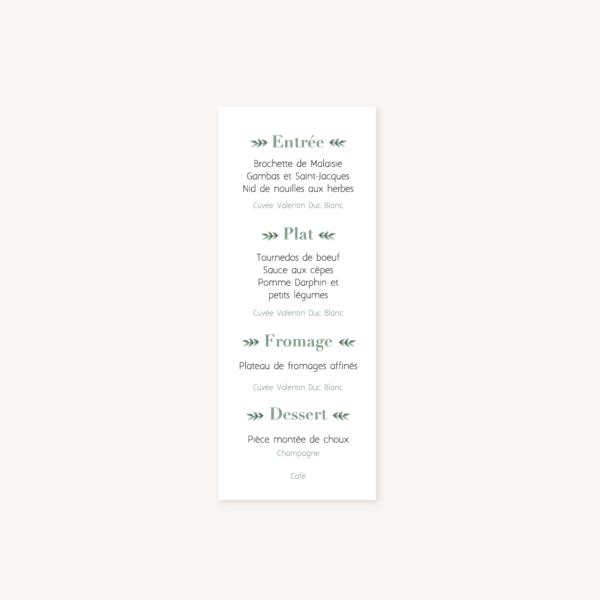 Menu individuel verso, illustrations, portrait, toi et moi, Floral, nature, rose, nude, pêche, vert d'eau, vert menthe, eucalyptus, feuillage, végétal, aquarelle, dessin, couple, photo, romantique, végétal, nature, champêtre