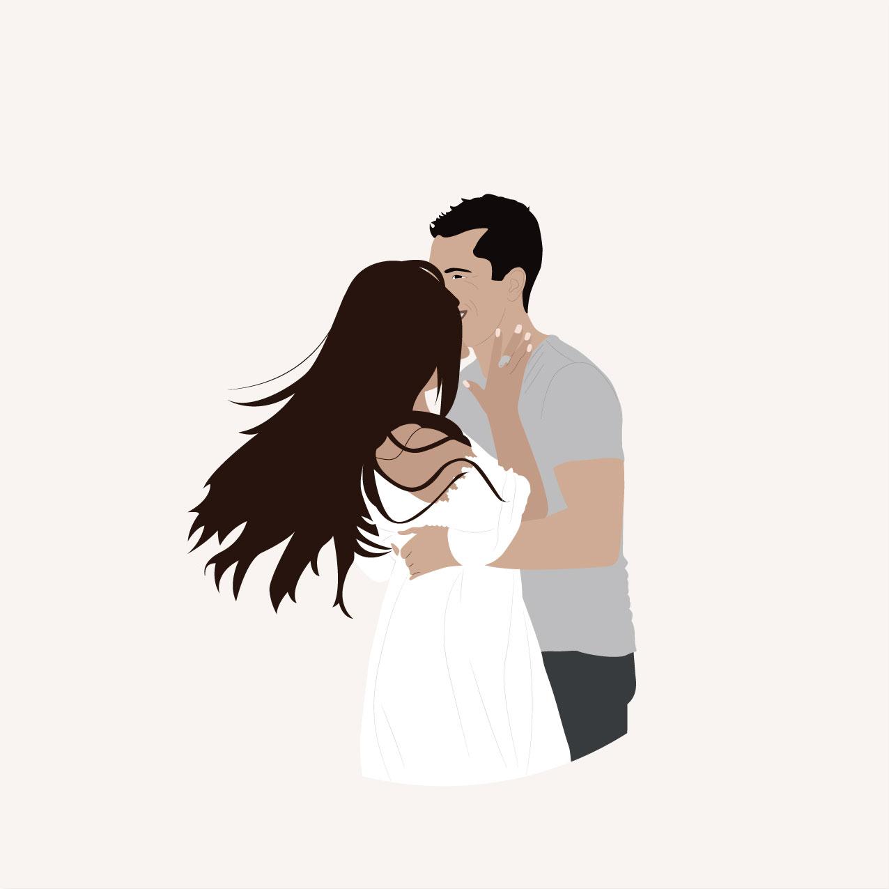 Illustrations, mariage, portrait, toi et moi, dessin, couple, photo, romantique