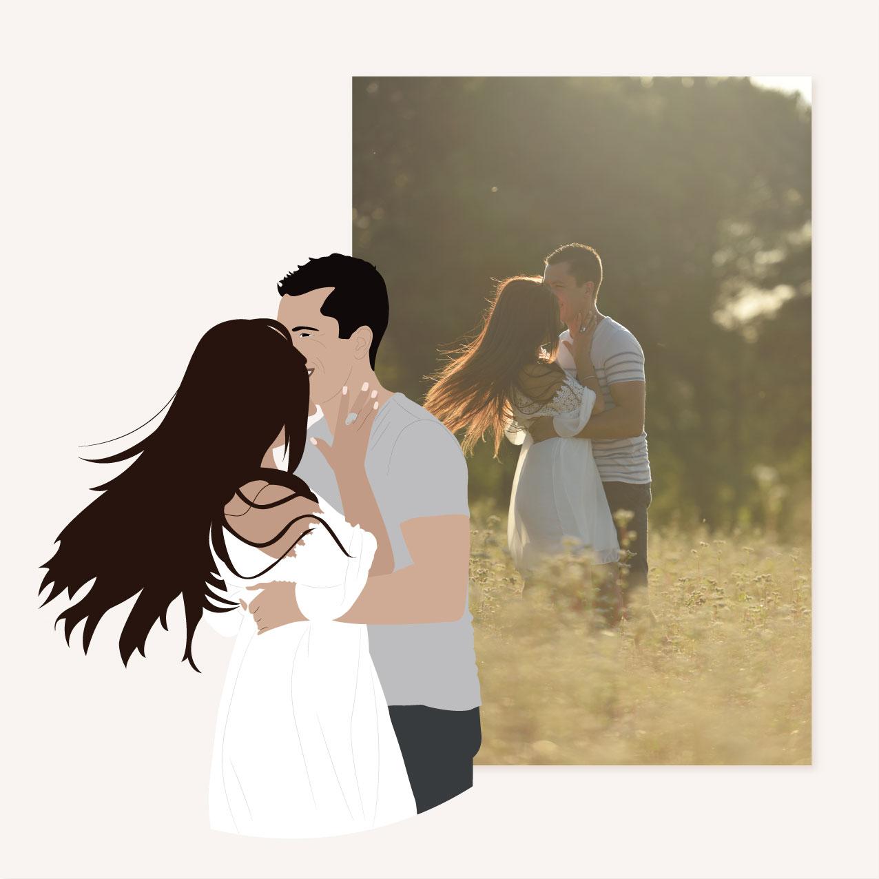 Illustration avant après, mariage, portrait, toi et moi, dessin, couple, photo, romantique