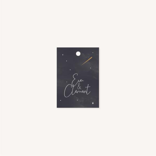 Étiquette personnalisée perforée pour faire-part de mariage aux thèmes nuit, étoiles, nuages, rêves, comètes et couleurs gris, blanc, or