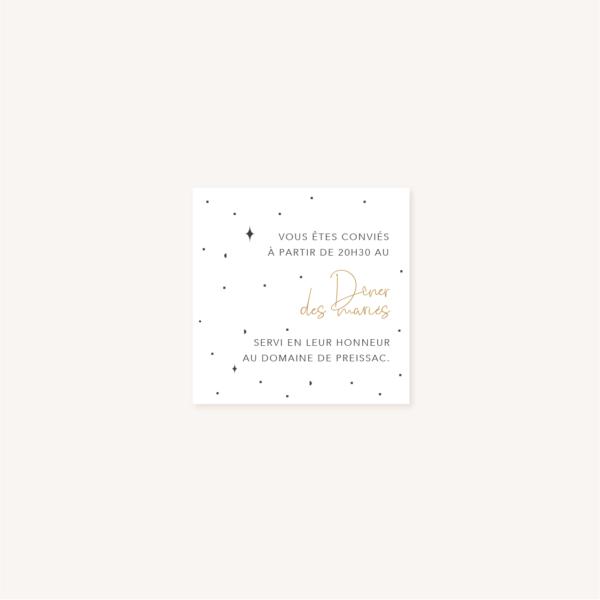 Carton dîner de mariage aux thèmes nuit, étoiles, nuages, rêves, comètes et couleurs gris, blanc, or, impression verso