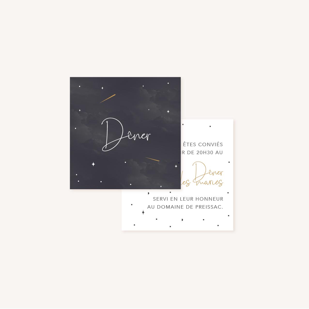 Carton dîner de mariage aux thèmes nuit, étoiles, nuages, rêves, comètes et couleurs gris, blanc, or
