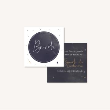 Carton brunch de mariage aux thèmes nuit, étoiles, nuages, rêves, comètes et couleurs gris, blanc, or