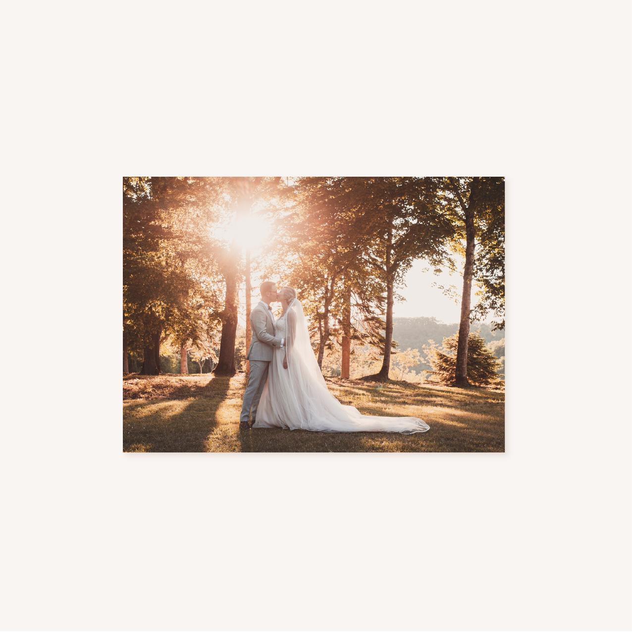 Remerciements impression recto de mariage aux thèmes nuit, étoiles, nuages, rêves, comètes et couleurs gris, blanc, or