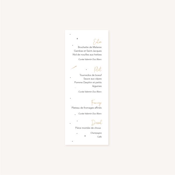 Menu individuel verso des tables invités pour un mariage aux thèmes nuit, étoiles, nuages, rêves, comètes et couleurs gris, blanc, or