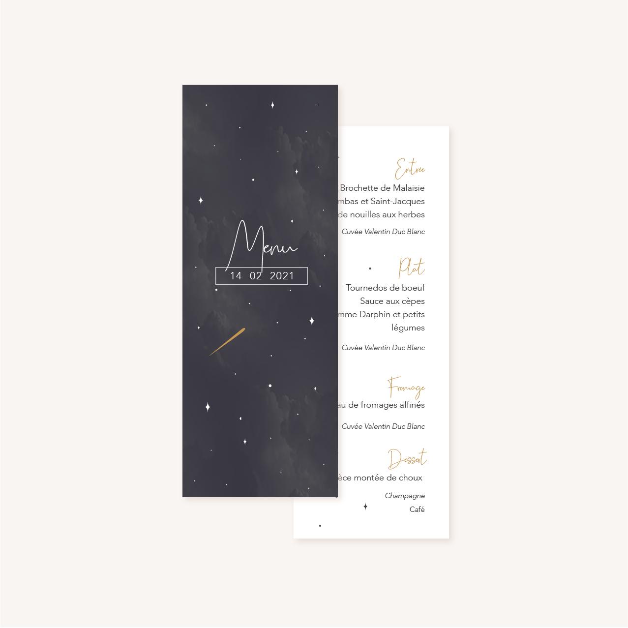 Menu individuel des tables invités pour un mariage aux thèmes nuit, étoiles, nuages, rêves, comètes et couleurs gris, blanc, or