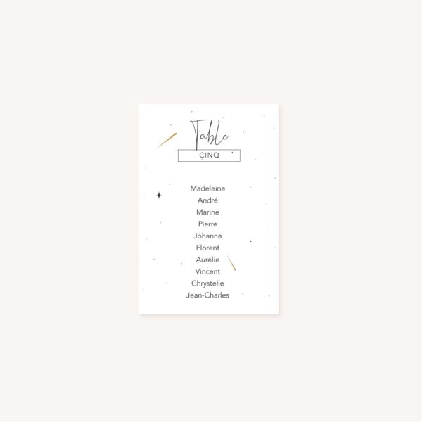 Plan de table invités pour un mariage aux thèmes nuit, étoiles, nuages, rêves, comètes et couleurs gris, blanc, or