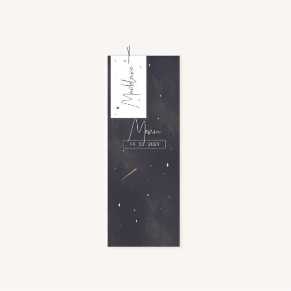 Menu individuel et étiquette personnalisé invités pour un mariage aux thèmes nuit, étoiles, nuages, rêves, comètes et couleurs gris, blanc, or