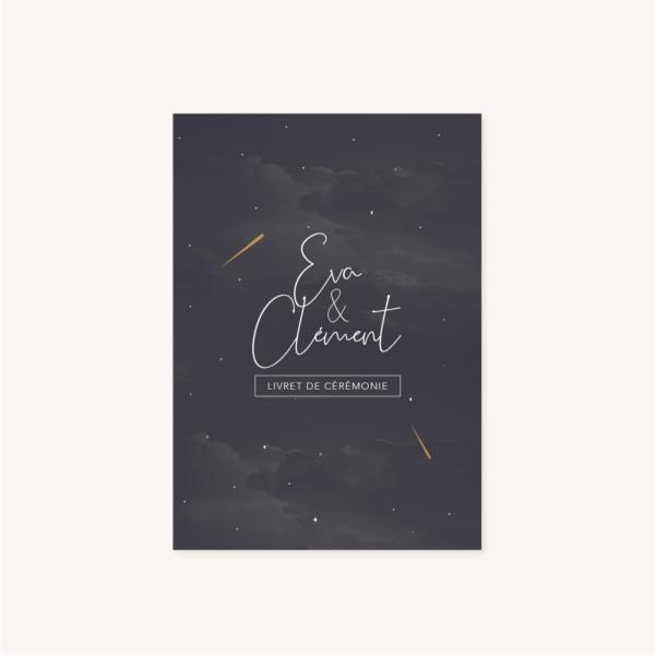 Livret de cérémonie de mariage aux thèmes nuit, étoiles, nuages, rêves, comètes et couleurs gris, blanc, or, première de couverture