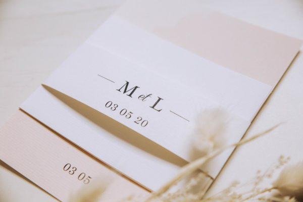 Bandeau faire-part mariage blush couleurs rose, rose poudré, rose clair, blanc, mariage thèmes doux, romantique