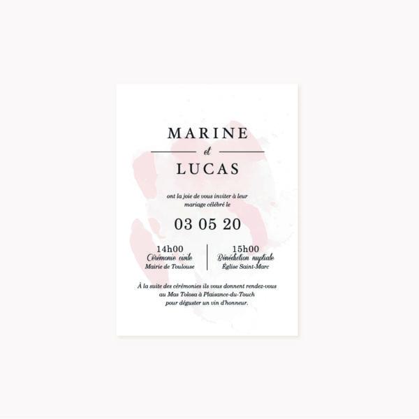 Faire-part mariage blush couleurs rose, rose poudré, rose clair, blanc, mariage thèmes doux, romantique